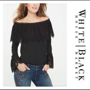 cbc41dfbb90dd WHBM Black Off-The-Shoulder Lace Trim Top